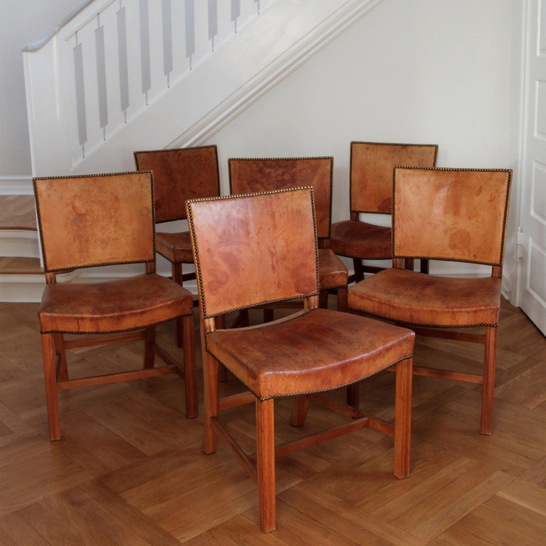 Oiled Six Kaare Klint Red Chairs, Mahogany and Original Niger Leather For Sale