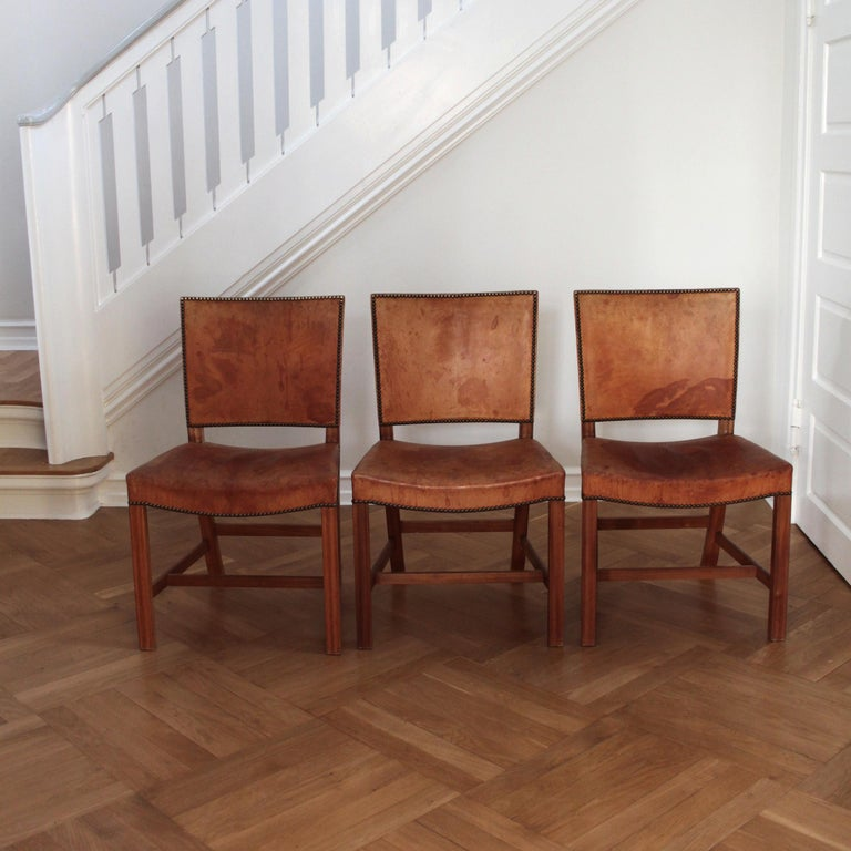 Six Kaare Klint Red Chairs, Mahogany and Original Niger Leather In Good Condition For Sale In Copenhagen, DK