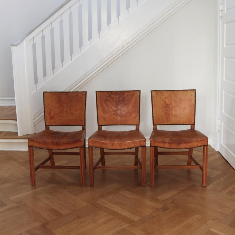 20th Century Six Kaare Klint Red Chairs, Mahogany and Original Niger Leather For Sale