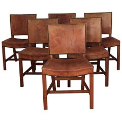 Six Kaare Klint Red Chairs, Mahogany and Original Niger Leather