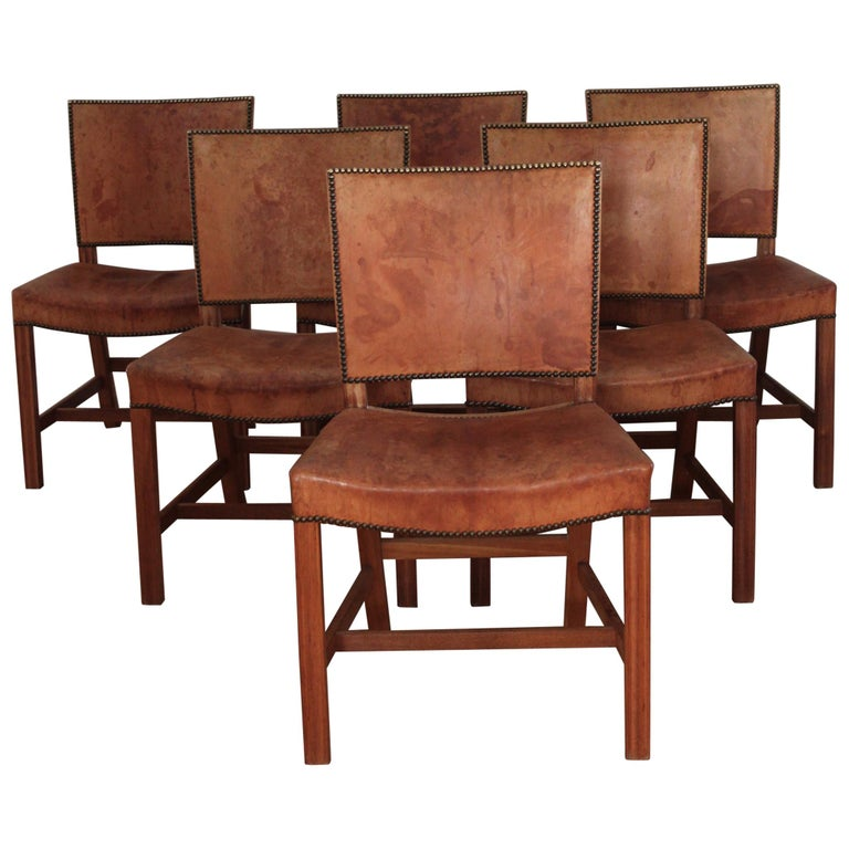 Six Kaare Klint Red Chairs, Mahogany and Original Niger Leather For Sale