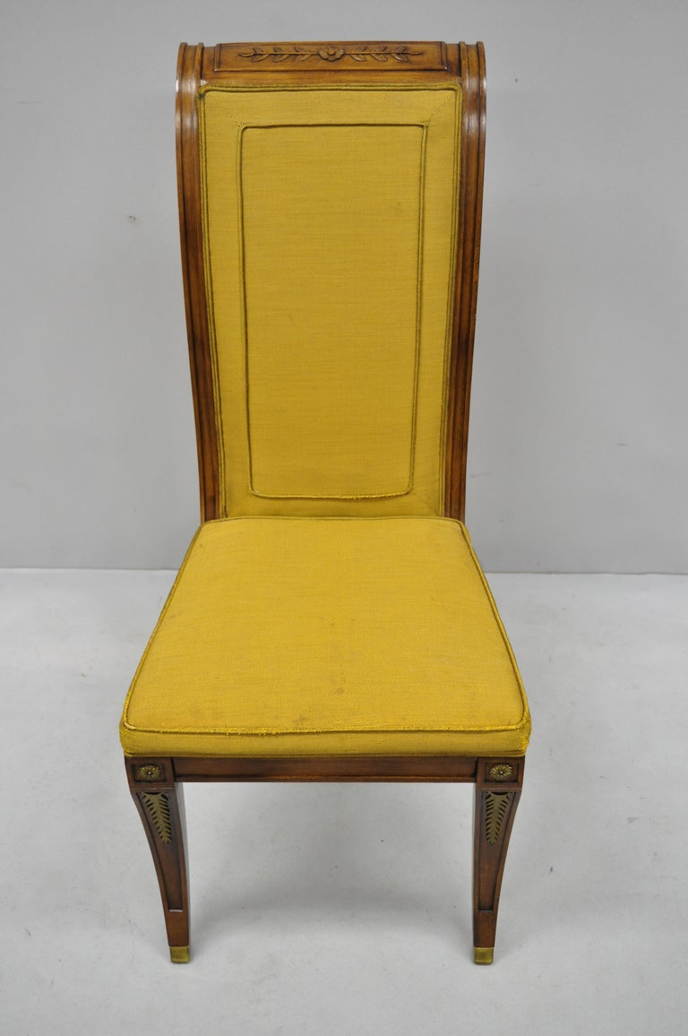 Six Karges French Neoclassical Regency Style Klismos Leg Walnut Dining Chairs For Sale 6