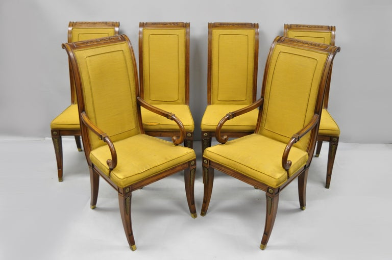 Six Karges French Neoclassical Regency Style Klismos Leg Walnut Dining Chairs For Sale 7