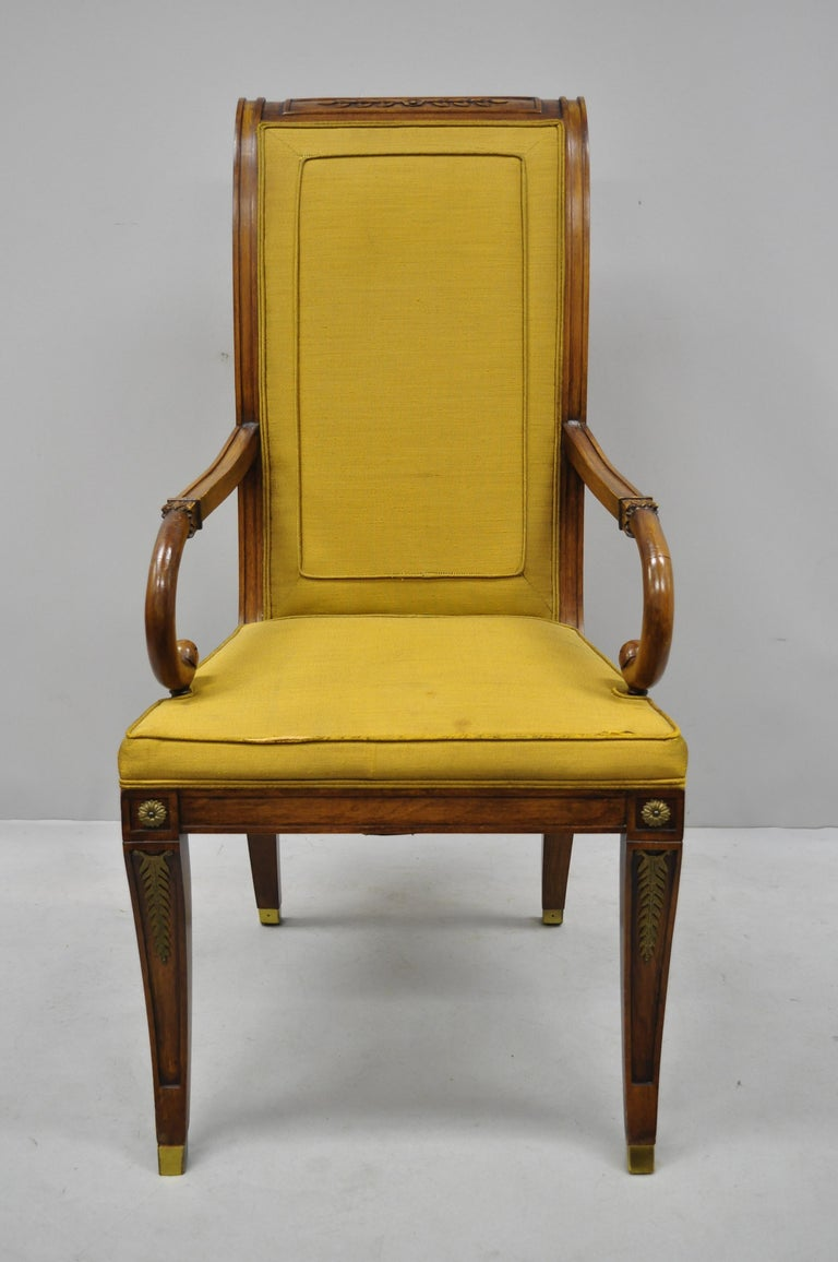 American Six Karges French Neoclassical Regency Style Klismos Leg Walnut Dining Chairs For Sale