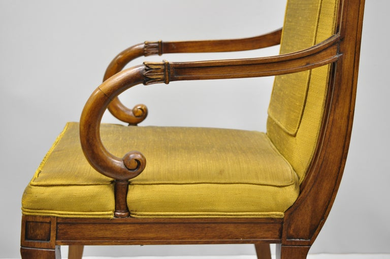 Six Karges French Neoclassical Regency Style Klismos Leg Walnut Dining Chairs For Sale 2
