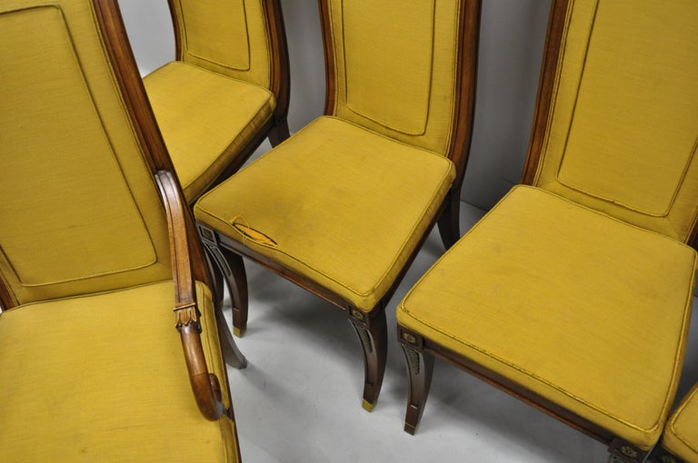 Six Karges French Neoclassical Regency Style Klismos Leg Walnut Dining Chairs For Sale 3