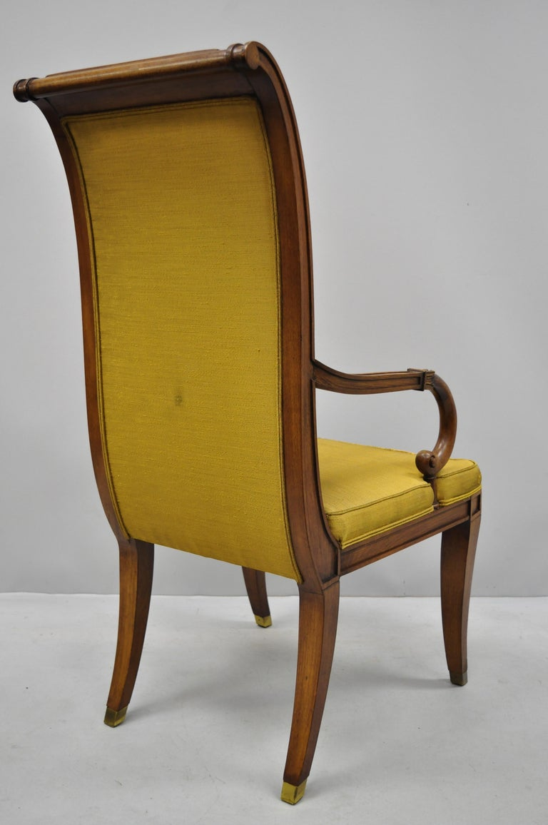 Six Karges French Neoclassical Regency Style Klismos Leg Walnut Dining Chairs For Sale 4
