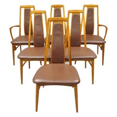 Six Koefoeds Hornslet Teak Midcentury Danish Modern Leather Dining Room Chairs