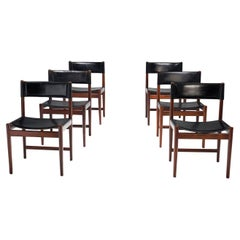 Six Kurt Østervig Dinner Chairs in Dark Wood and Leather, Denmark, 1960s