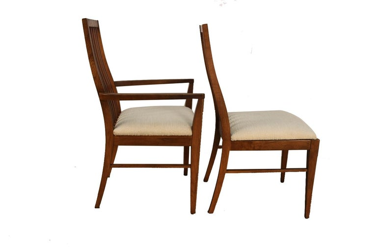 Mid-Century Modern Six Lane First Edition Midcentury Walnut Spindle Back Dining Chairs For Sale