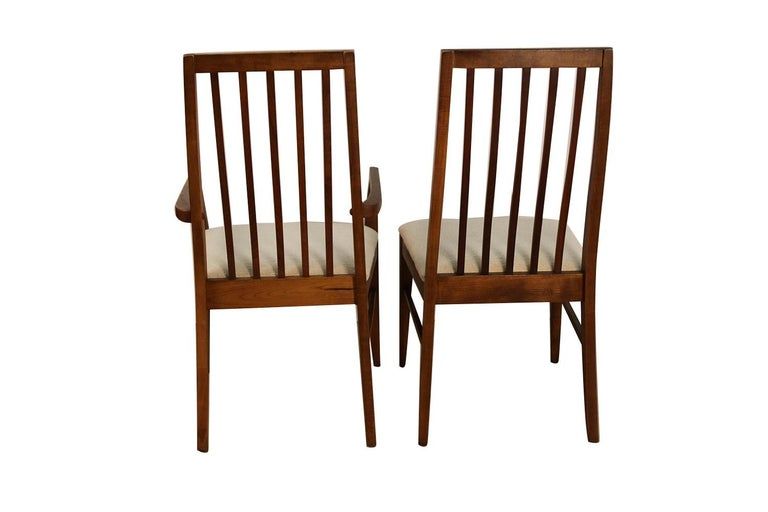 20th Century Six Lane First Edition Midcentury Walnut Spindle Back Dining Chairs For Sale
