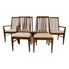 Six Lane First Edition Midcentury Walnut Spindle Back Dining Chairs