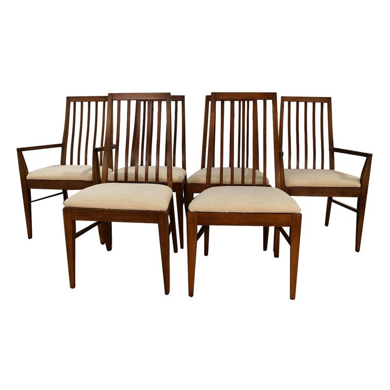 Six Lane First Edition Midcentury Walnut Spindle Back Dining Chairs For Sale