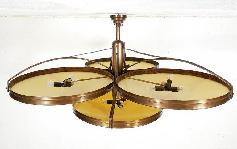 Six Large Art Deco Flush Mount Cafe Lamps