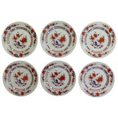 SIX Large Chinese Export Dinner Plates Porcelain hand painted, Mid-20th Century