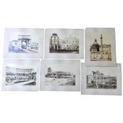 Sechs große Format römischen architektonischen Grand Tour Fotos, um 1890