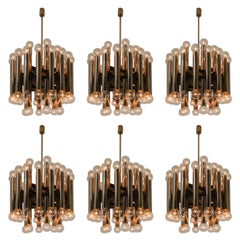 Six Large Mid-Century Modernist Steel Chandelier with 48 Light Bulbs Berlin 1960