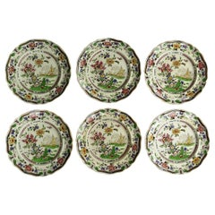 SIX Large Pottery Dinner Plates by Zachariah Boyle Chinese Flora Ptn, circa 1825