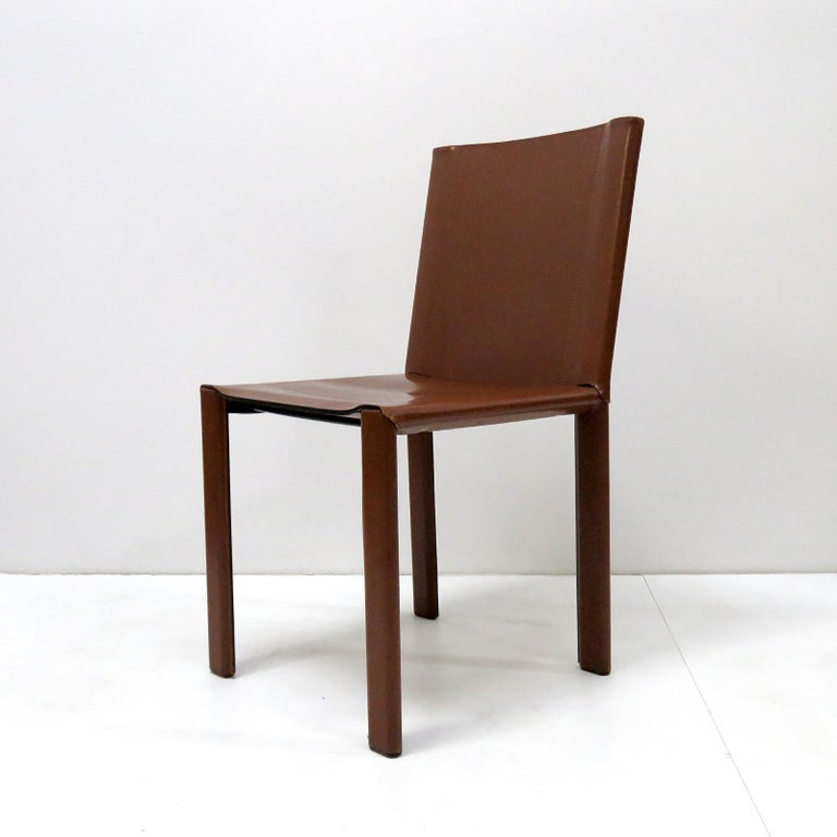 Italian Six Leather Dining Chairs