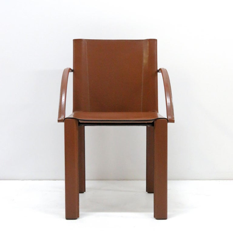 Mid-Century Modern Six Leather Dining Chairs