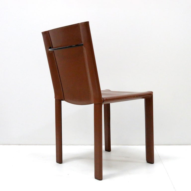 Steel Six Leather Dining Chairs