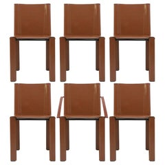 "Six Leather Dining Chairs ""Coral"" by Matteo Grassi, 1980"