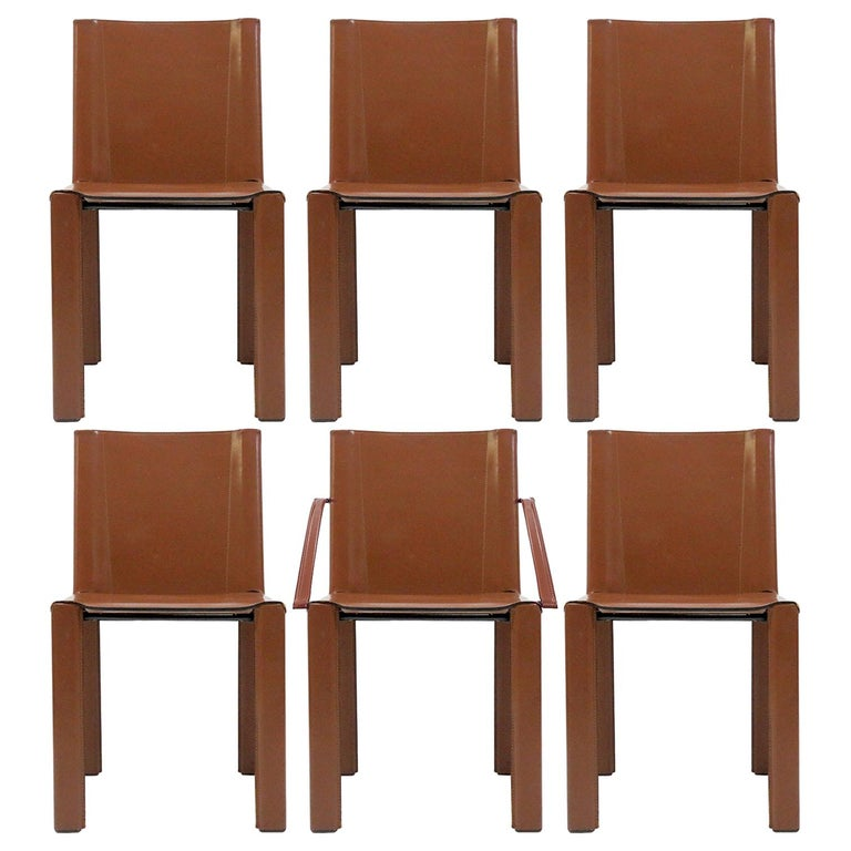 """Six Leather Dining Chairs """"Coral"""" by Matteo Grassi, 1980 For Sale"""