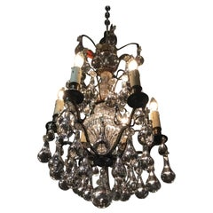 Six Light Antique Bronze and Crystal Chandelier with Six Lights
