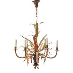 Six Light Baguès Chandelier in Painted Tole and Brass, France, circa 1940
