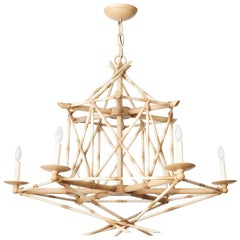 Six Light Bamboo Brûlé Chandelier Ceiling Light, Hand Painted Faux Bamboo