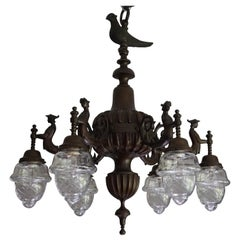 Six-Light Bronze Chandelier with Folkore or Fable Hybrid Guard Sculptures