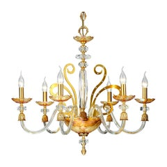 Six-Light Chandelier in Glass and Gold