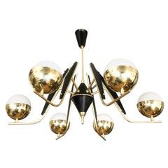 Six Light Chandelier in the Manner of Stilnovo, Italy, 1960s