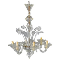 Six-Light Clear Venetian Glass Daffodil Chandelier