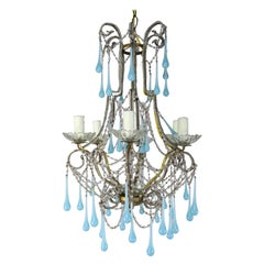 Six Light Crystal Beaded Chandelier with Aqua Drops, circa 1930s