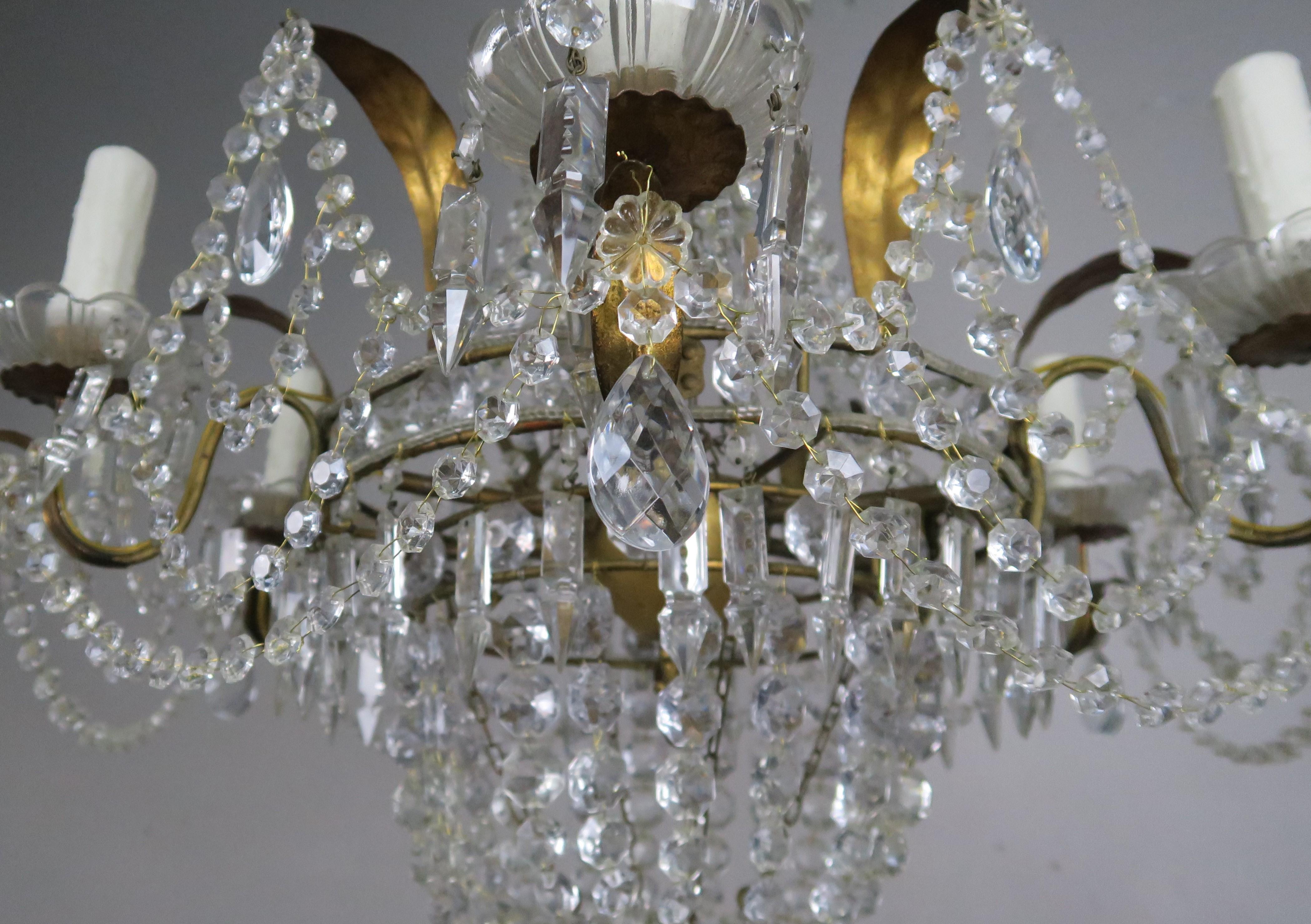 Kristall Perlen Kronleuchter ~ Sechsarmiger französischer vergoldeter metall kristall perlen