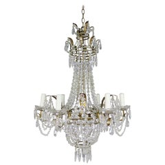 Six Light French Gilt Metal Crystal Beaded Chandelier, circa 1900s
