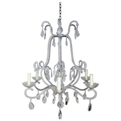 Six-Light Italian Style Beaded Crystal Chandelier