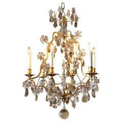 Six-Light Louis XV Style Bronze and Crystal Chandelier, France, circa 1930
