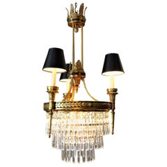 Six-Light Louis XVI Style Chandelier with Shades, circa 1910
