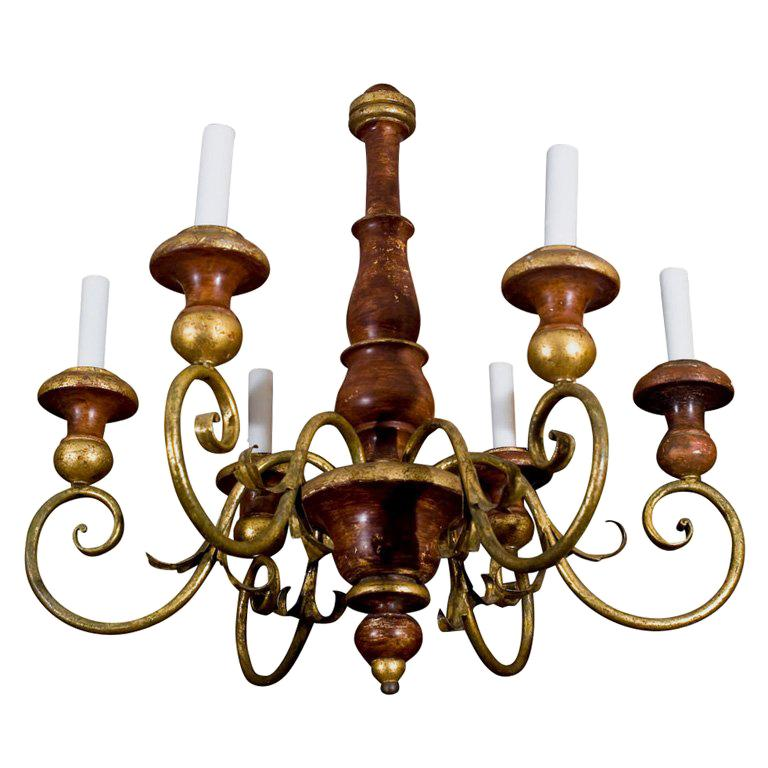 Six light painted wood and iron chandelier For Sale
