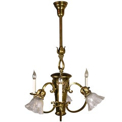 Six-Light Polished Brass Chandelier with Cameos