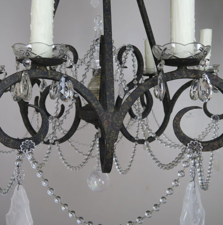 Six-Light Rock Crystal Wrought Iron Chandelier For Sale 5