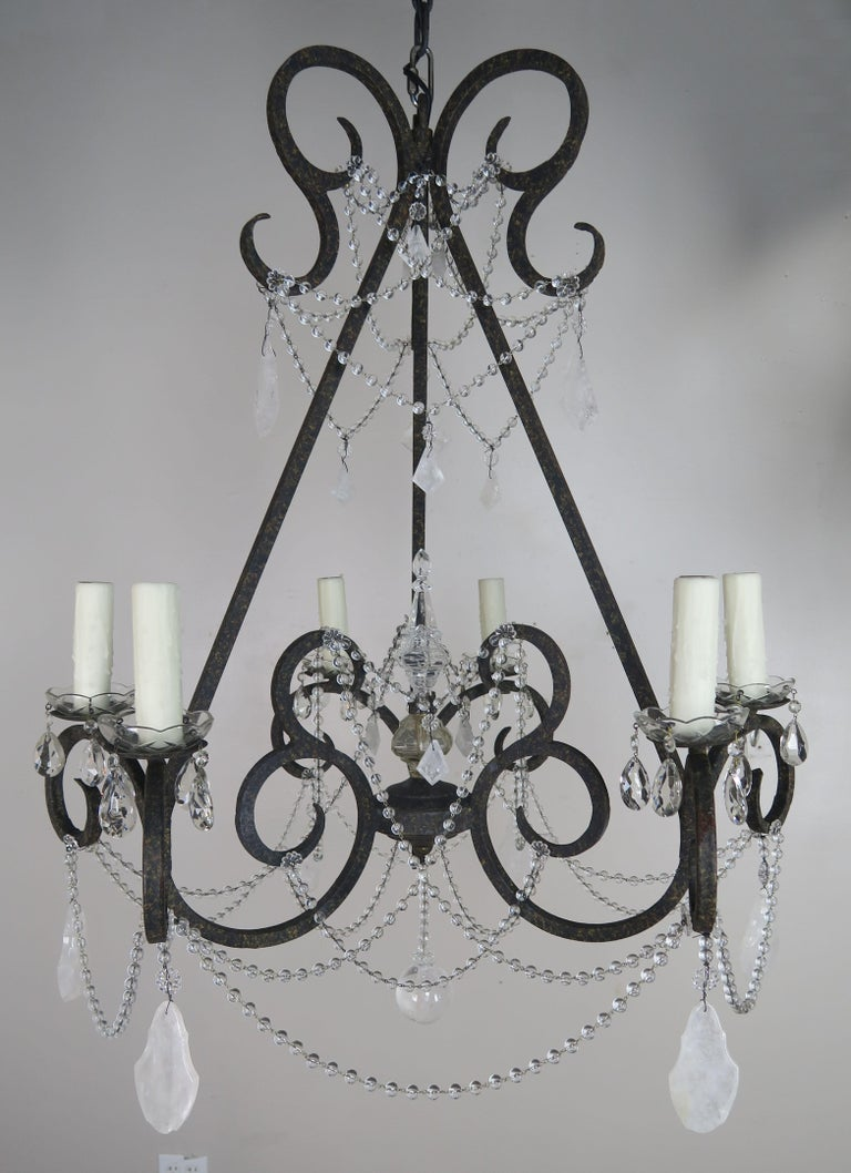 Six-Light Rock Crystal Wrought Iron Chandelier For Sale 6