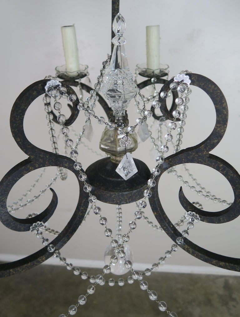 Baroque Six-Light Rock Crystal Wrought Iron Chandelier For Sale