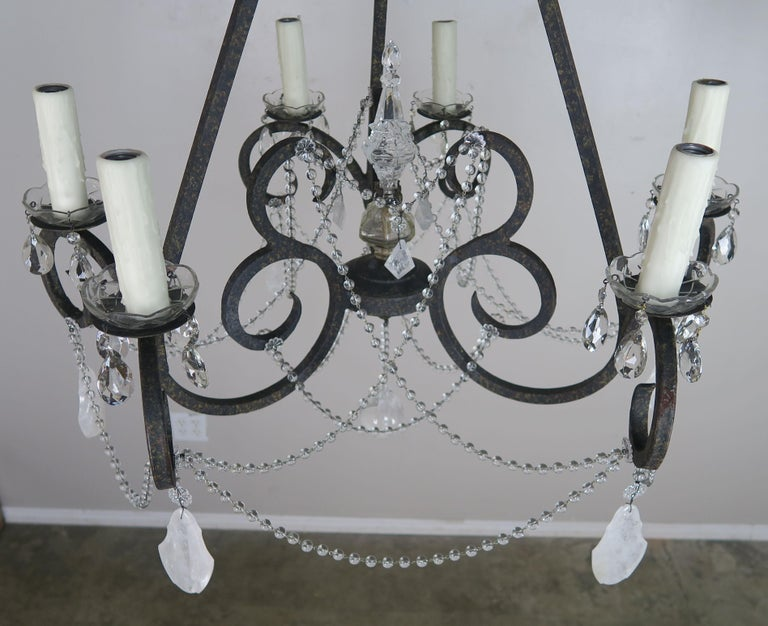 Spanish Six-Light Rock Crystal Wrought Iron Chandelier For Sale