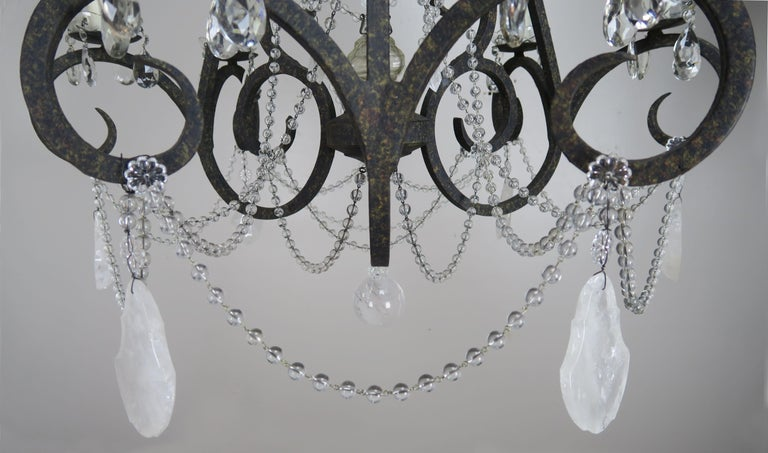 Six-Light Rock Crystal Wrought Iron Chandelier In Excellent Condition For Sale In Los Angeles, CA