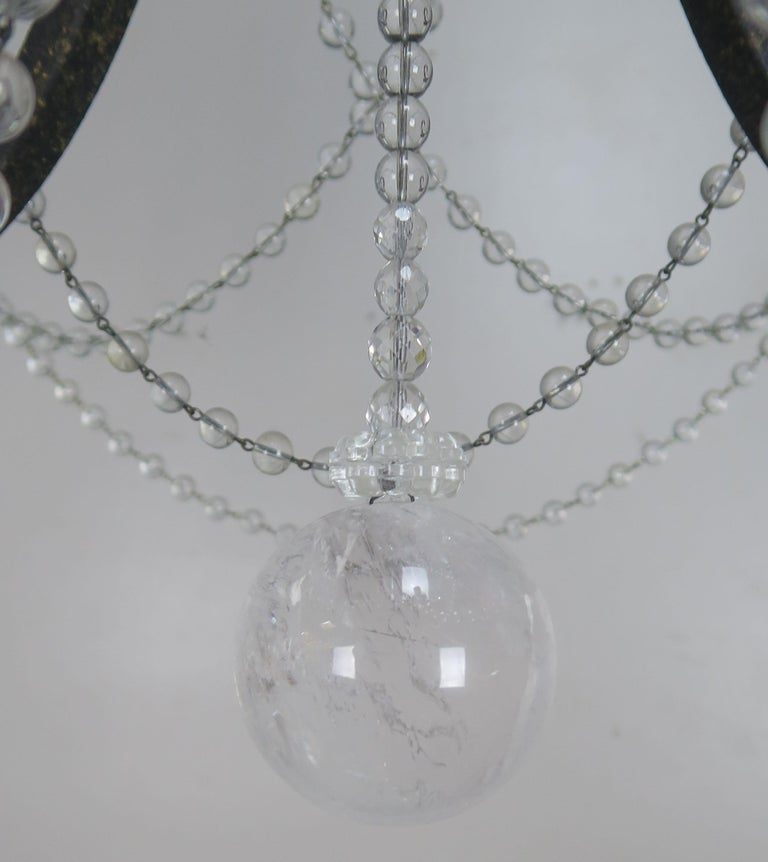 20th Century Six-Light Rock Crystal Wrought Iron Chandelier For Sale