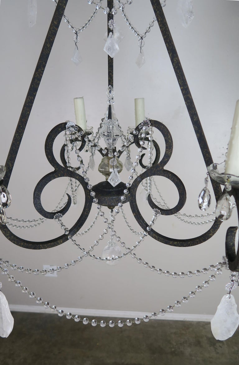 Six-Light Rock Crystal Wrought Iron Chandelier For Sale 2