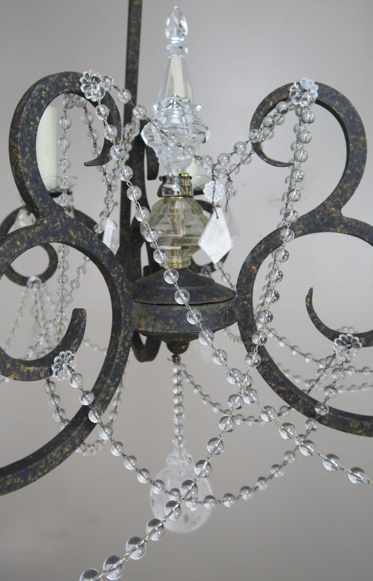 Six-Light Rock Crystal Wrought Iron Chandelier For Sale 3